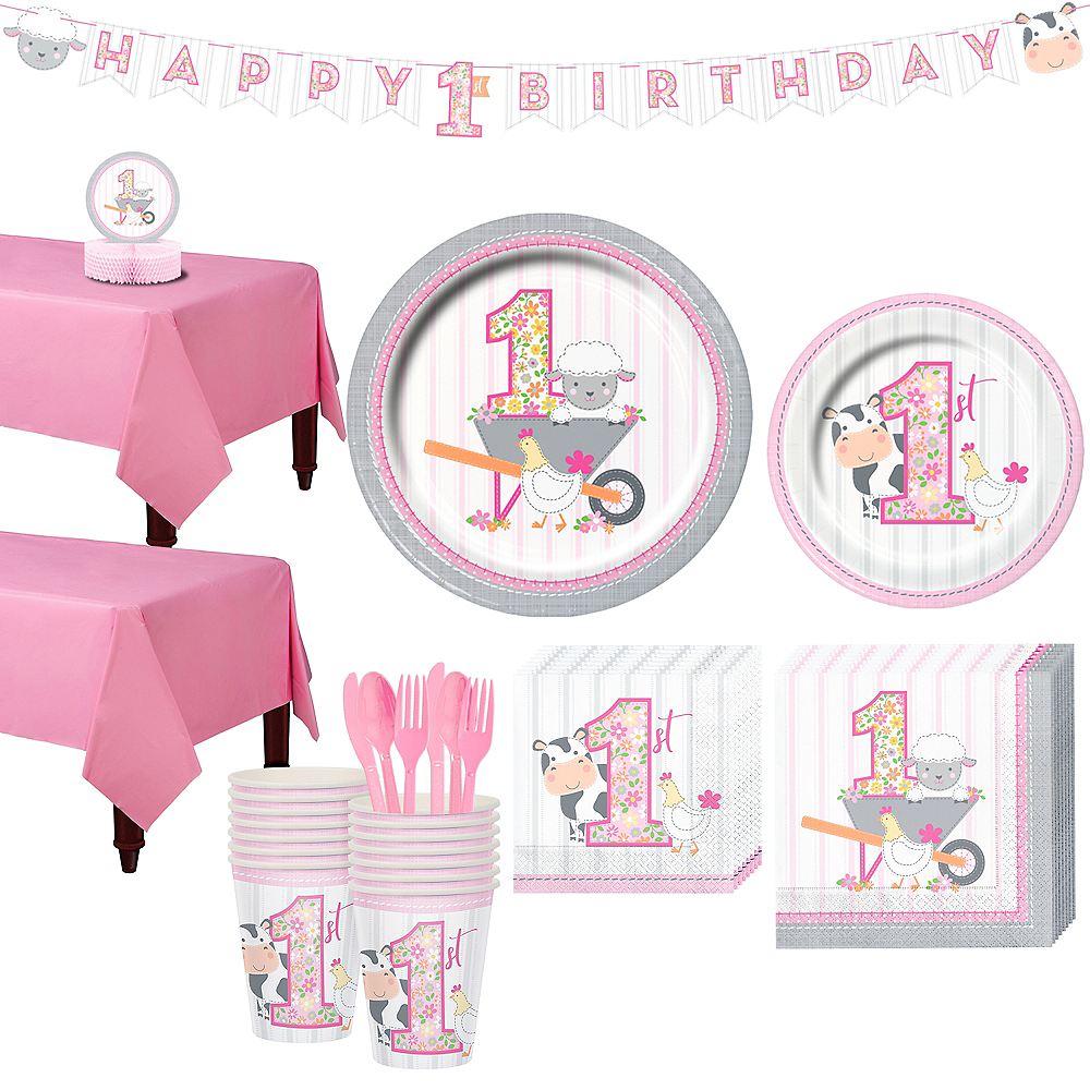 Pink Farmhouse 1st Birthday Tableware Kit for 16 Guests Image #1