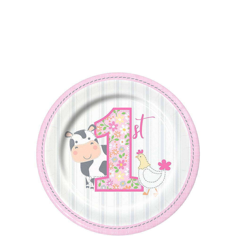 Pink Farmhouse 1st Birthday Tableware Kit for 16 Guests Image #2