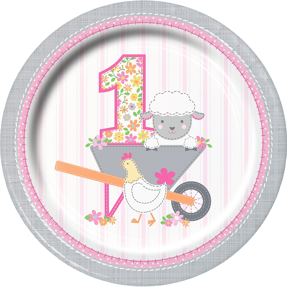 Pink Farmhouse 1st Birthday Tableware Kit for 16 Guests Image #3