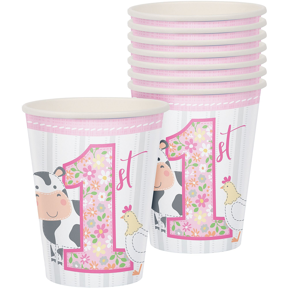 Pink Farmhouse 1st Birthday Tableware Kit for 16 Guests Image #6