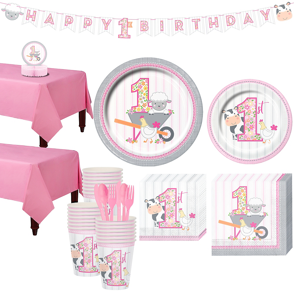 Pink Farmhouse 1st Birthday Tableware Kit for 32 Guests Image #1