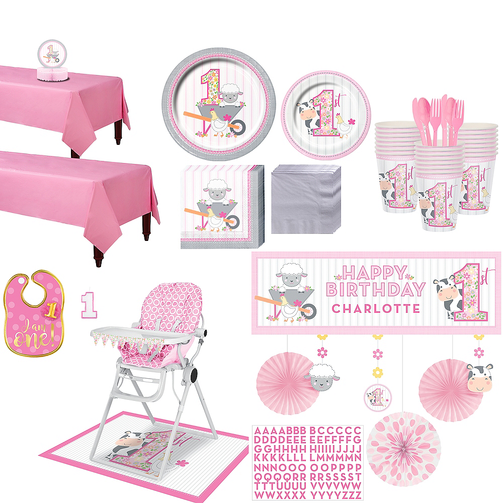 Ultimate Pink Farmhouse 1st Birthday Party Kit for 32 Guests Image #1