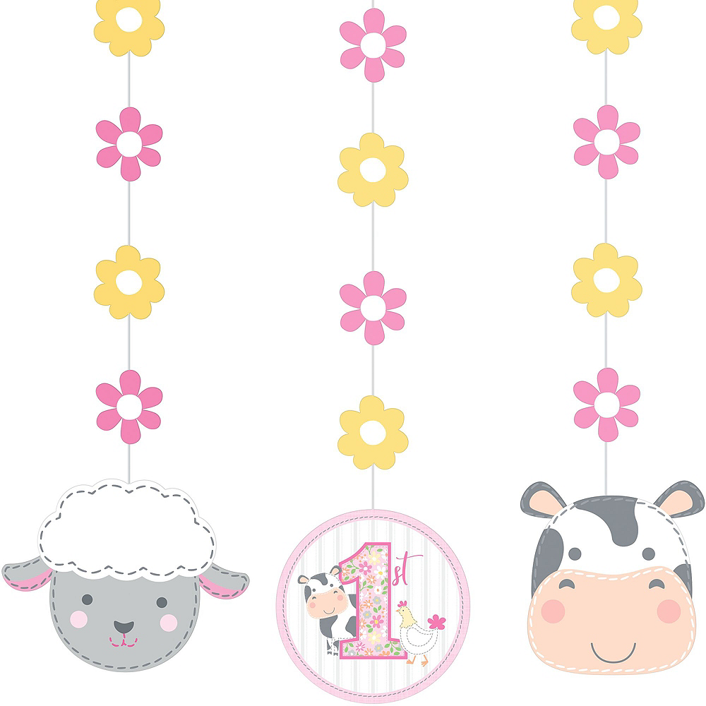 Pink Farmhouse 1st Birthday Decorating Kit Image #3