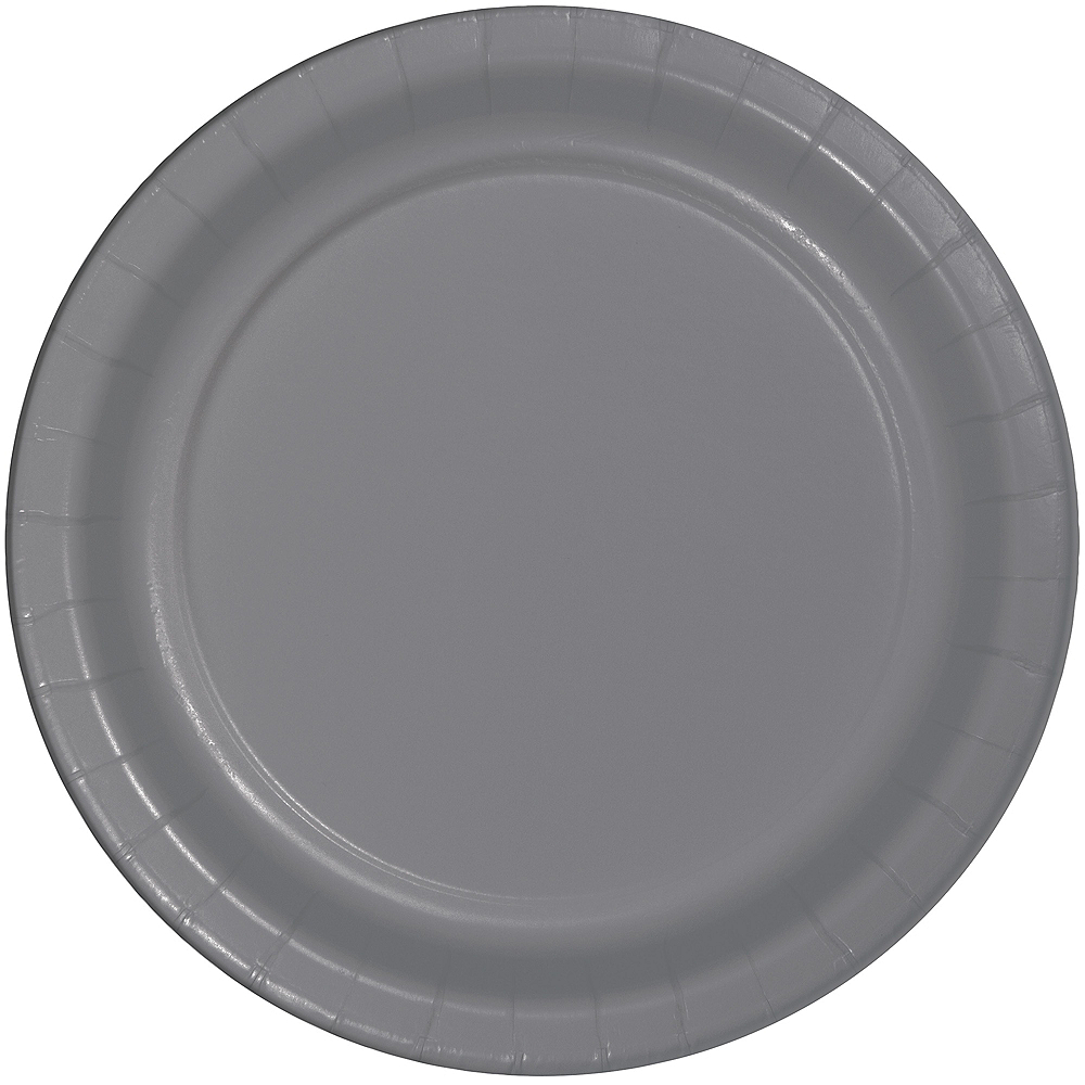 Gray Paper Dinner Plates 24ct Image #1
