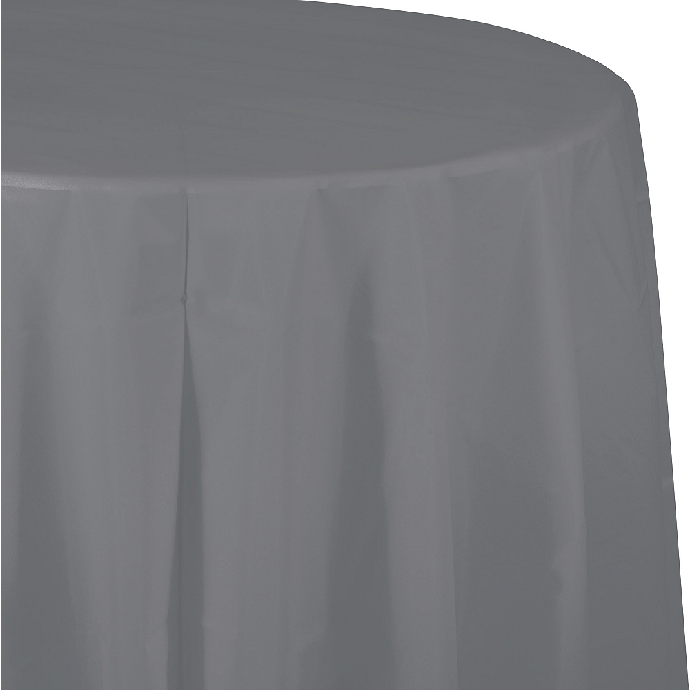 Gray Plastic Round Table Cover Image #1