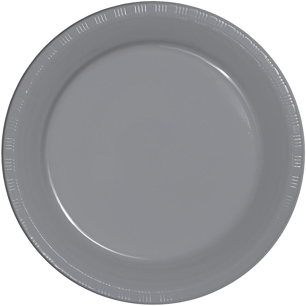 Gray Plastic Dinner Plates 20ct Image #1