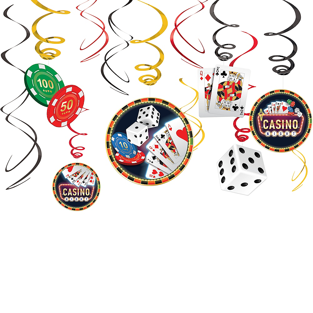 Roll the Dice Casino Swirl Decorations 12ct Image #1
