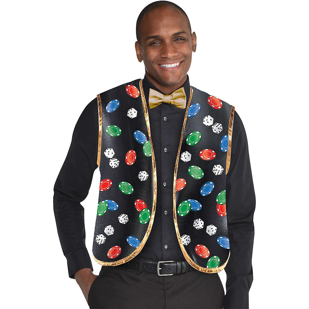 Nav Item for Roll the Dice Casino Dealer Vest & Bow Tie Set 2pc Image #1