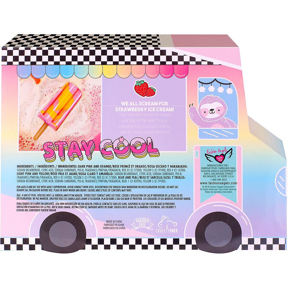 Stay Cool Strawberry-Scented Ice Pop Bath Fizzies 3ct Image #3