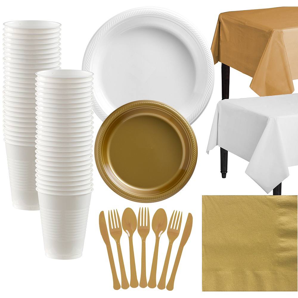 Gold & White Plastic Tableware Kit for 50 Guests Image #1