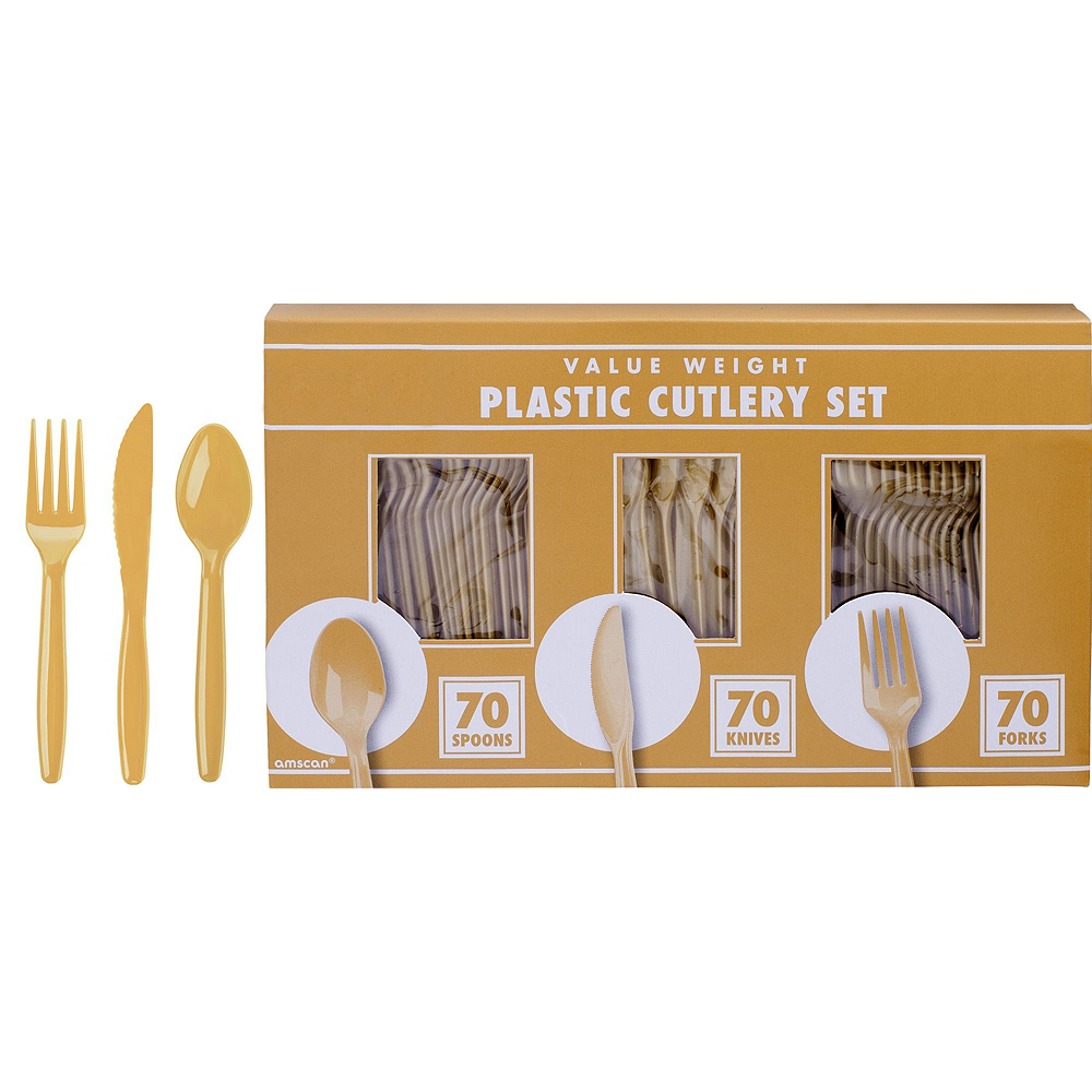 Gold & White Plastic Tableware Kit for 50 Guests Image #8