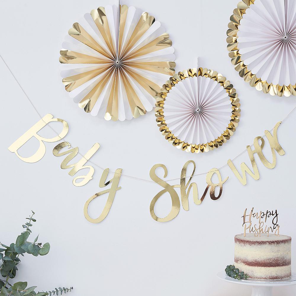 Ginger Ray Metallic Gold Baby Shower Letter Banner Image #1