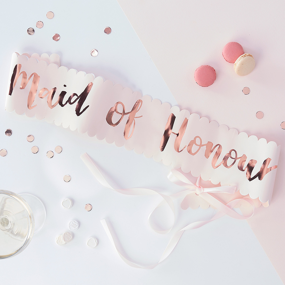 Ginger Ray Metallic Rose Gold & Pink Maid of Honor Sash Image #1
