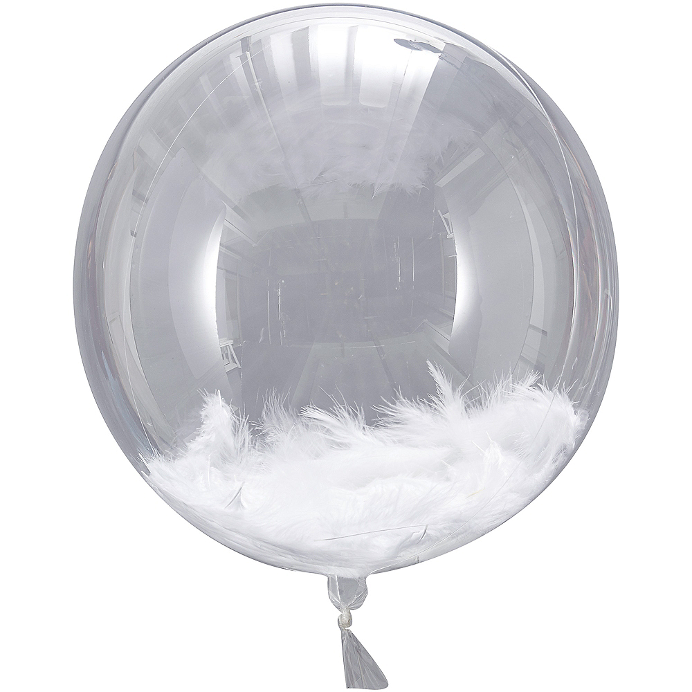 Ginger Ray White Feather Orb Balloons 3ct Image #1