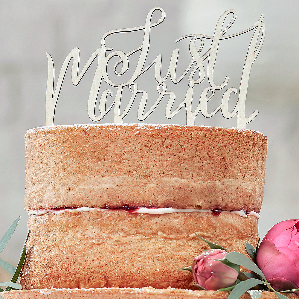 Ginger Ray Boho Just Married Wooden Wedding Cake Topper Image #1