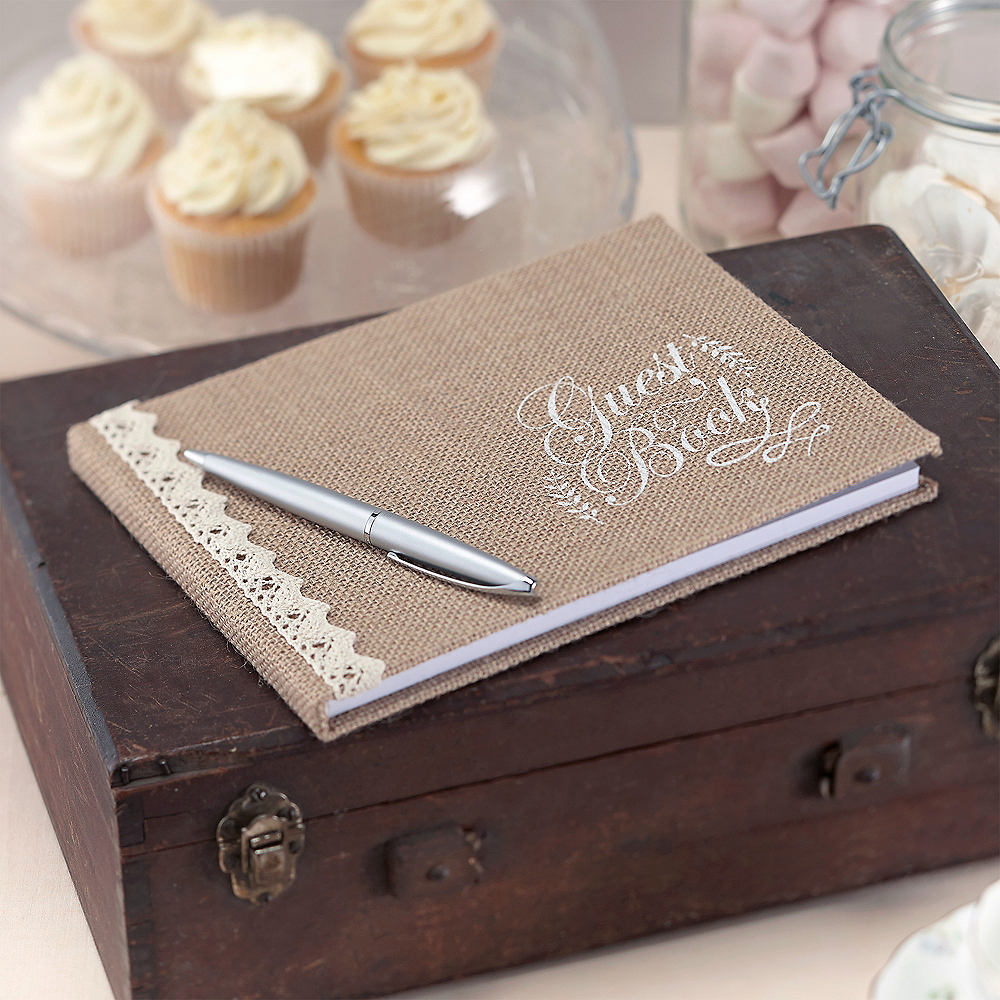 Ginger Ray Vintage Affair Burlap Guest Book Image #1