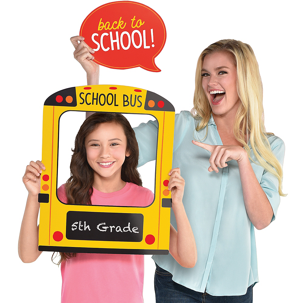 School Bus Photo Booth Frame with Cutout Image #1
