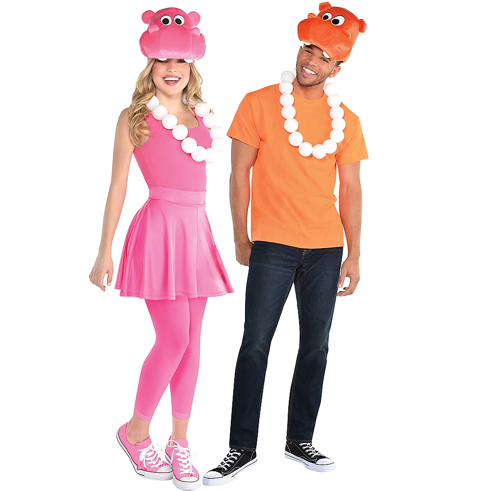 Adult Pink & Orange Hippo Costume Accessory Kit - Hungry Hungry Hippos Image #1