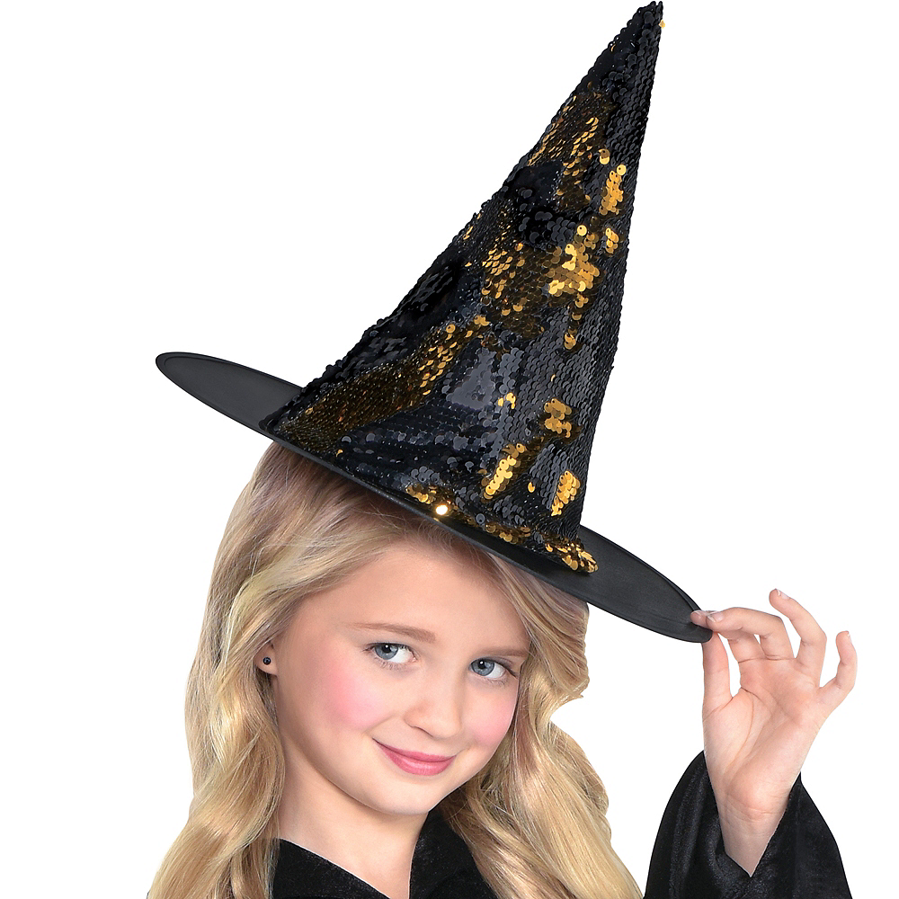 Child Magic Swipe Sequins Kids Witch Hat Image #2