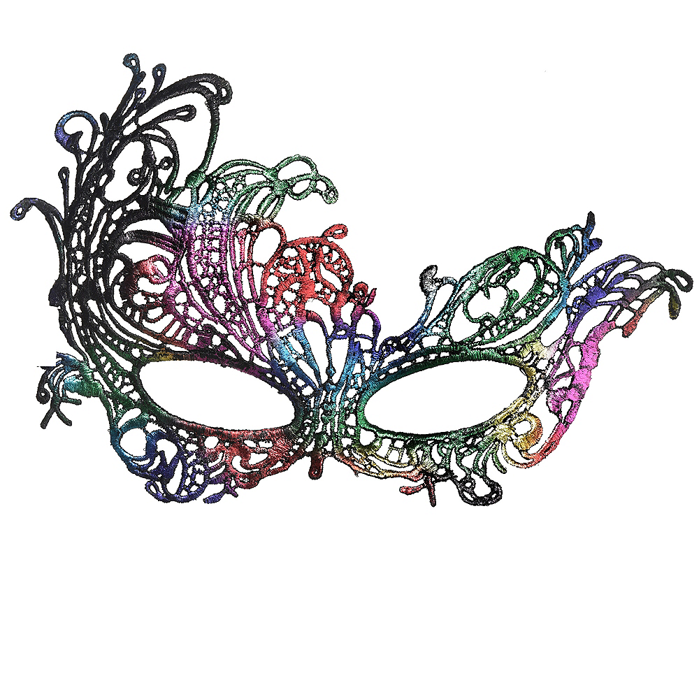 Nav Item for Rainbow Lace Masquerade Mask Image #1
