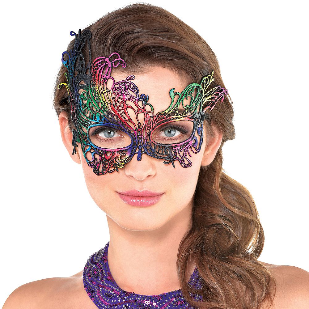 Nav Item for Rainbow Lace Masquerade Mask Image #2