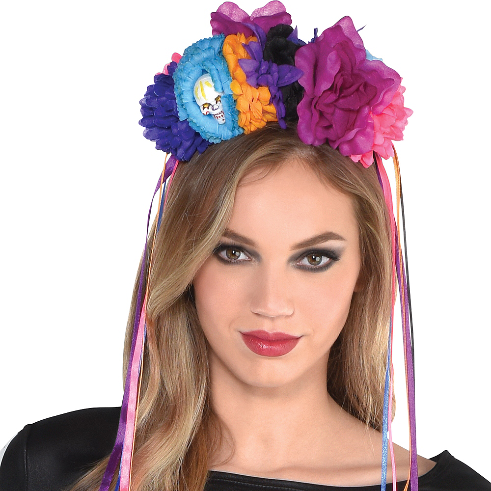 Neon Day of The Dead Floral Headband Image #2