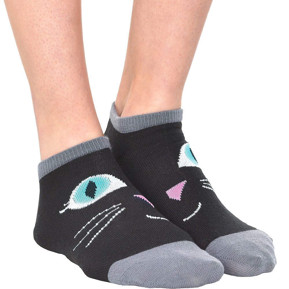 Adult Black Cat Ankle Socks Image #1