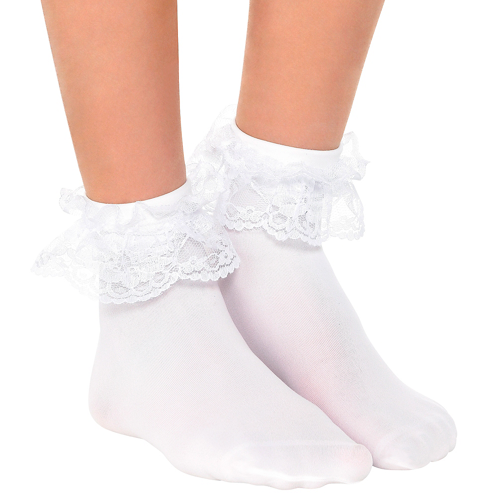 Child White Lace Ankle Socks Image #1