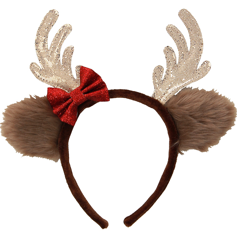 Glitter Reindeer Headband with Bow Image #1