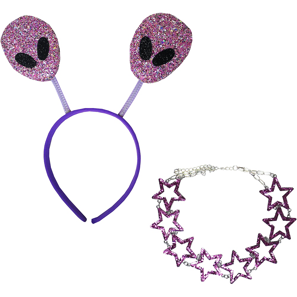 Adult Glitter Purple Alien Costume Accessory Kit Image #1