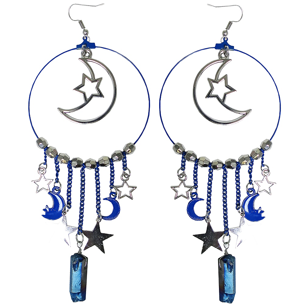 Silver Moon Hoop Earrings Image #1