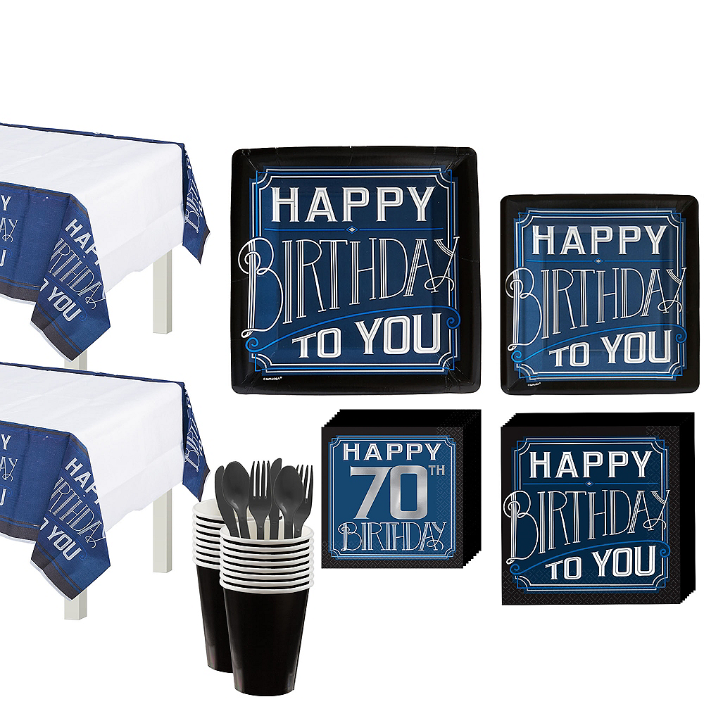 Vintage Happy Birthday 70th Birthday Party Kit for 16 Guests Image #1
