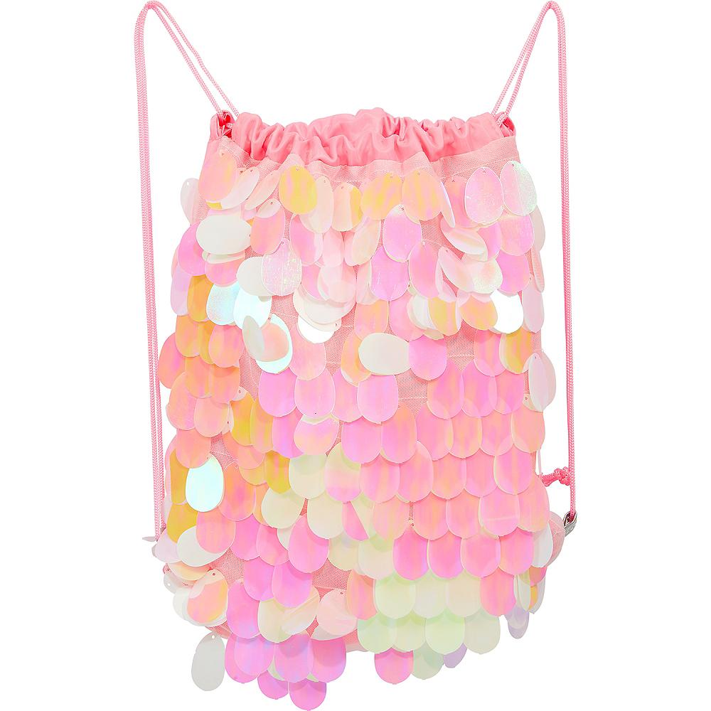 Iridescent Pink Paillette Drawstring Backpack Image #1