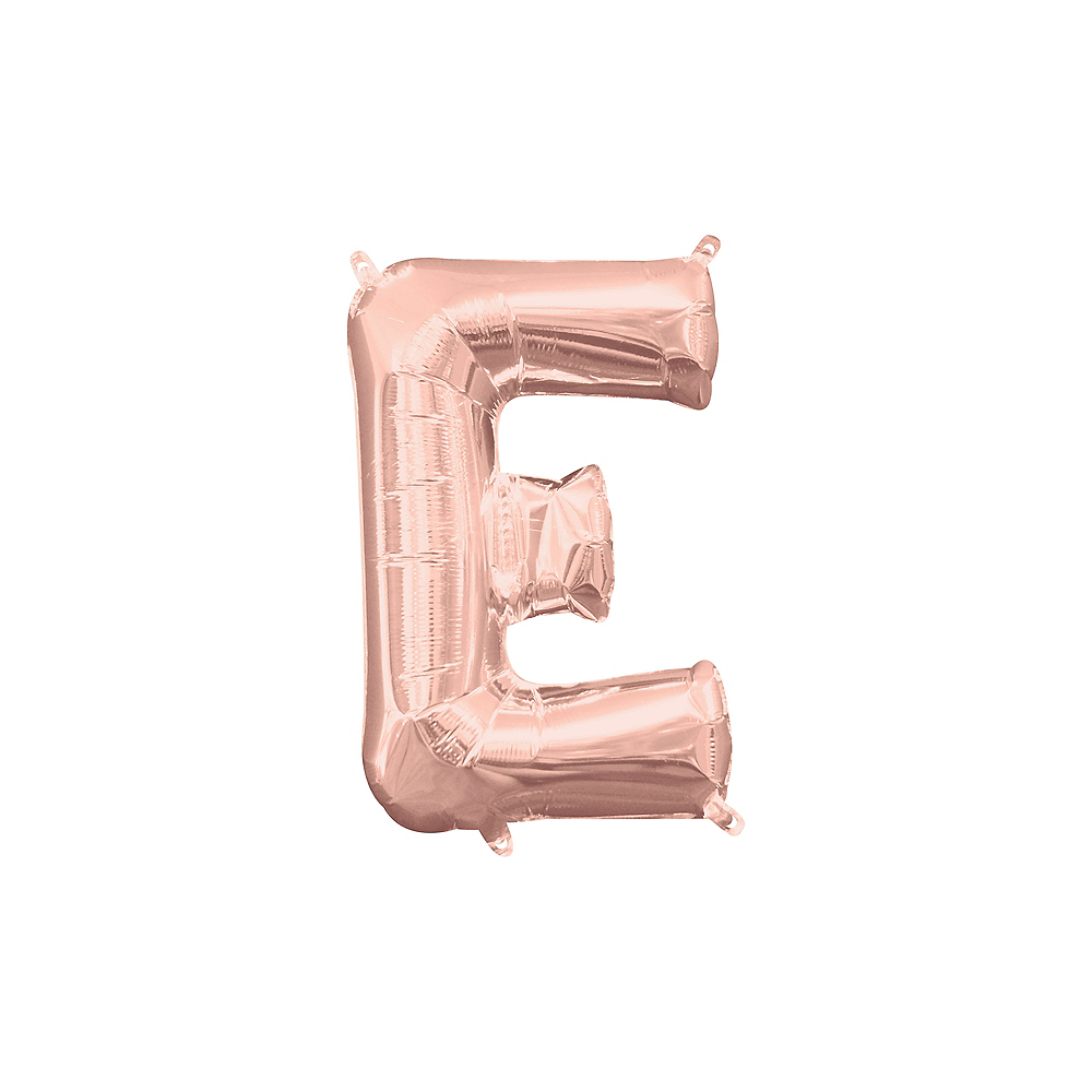 13in Air-Filled Rose Gold Letter Balloon (E) Image #1