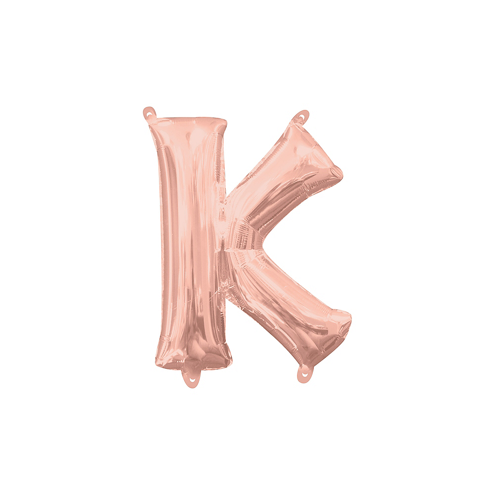13in Air-Filled Rose Gold Letter Balloon (K) Image #1