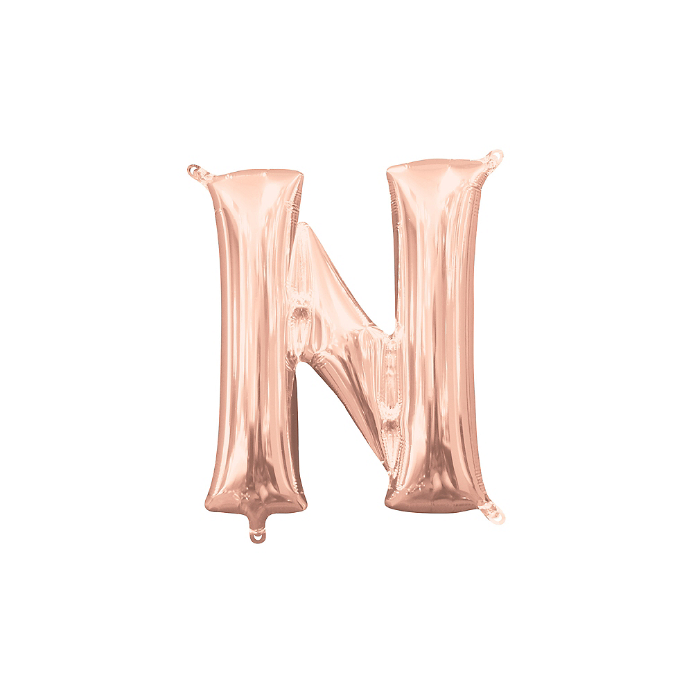 13in Air-Filled Rose Gold Letter Balloon (N) Image #1