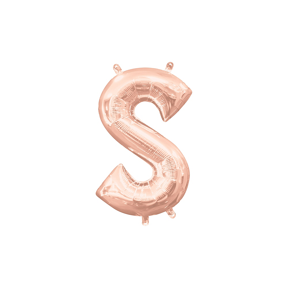 13in Air-Filled Rose Gold Letter Balloon (S) Image #1