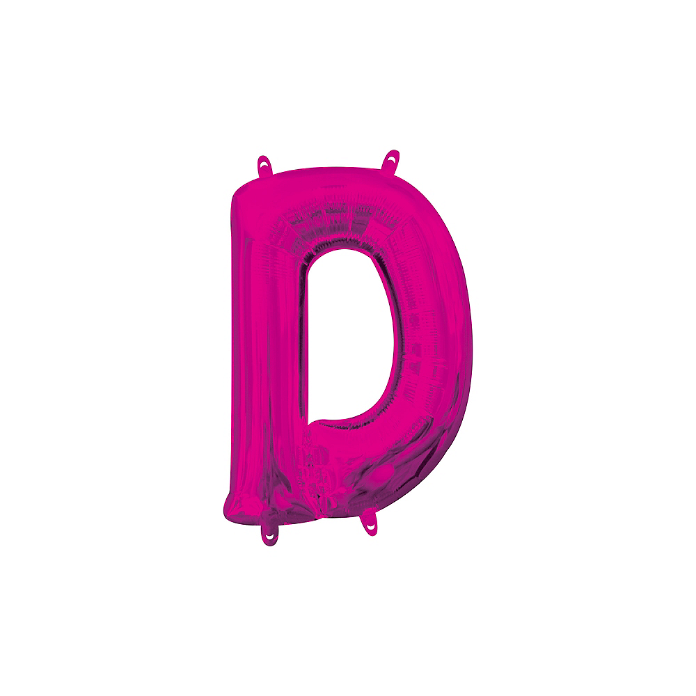 13in Air-Filled Bright Pink Letter Balloon (D) Image #1