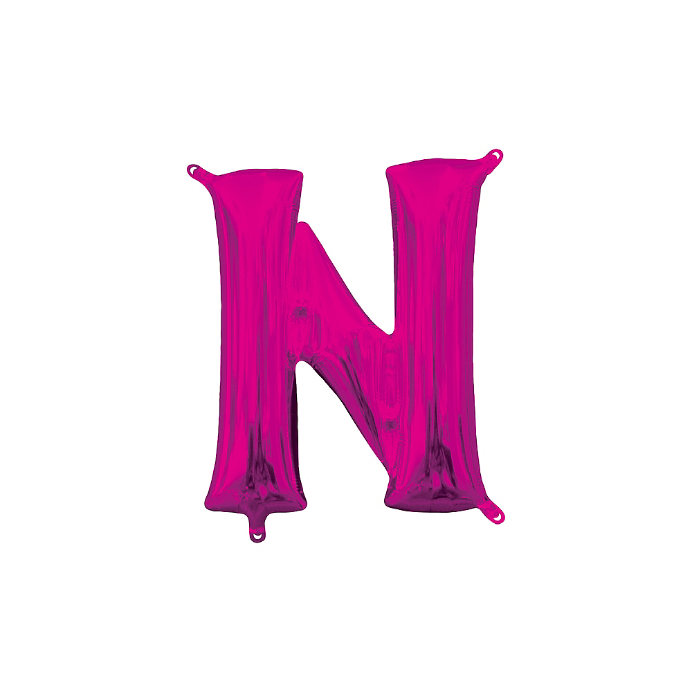 13in Air-Filled Bright Pink Letter Balloon (N) Image #1