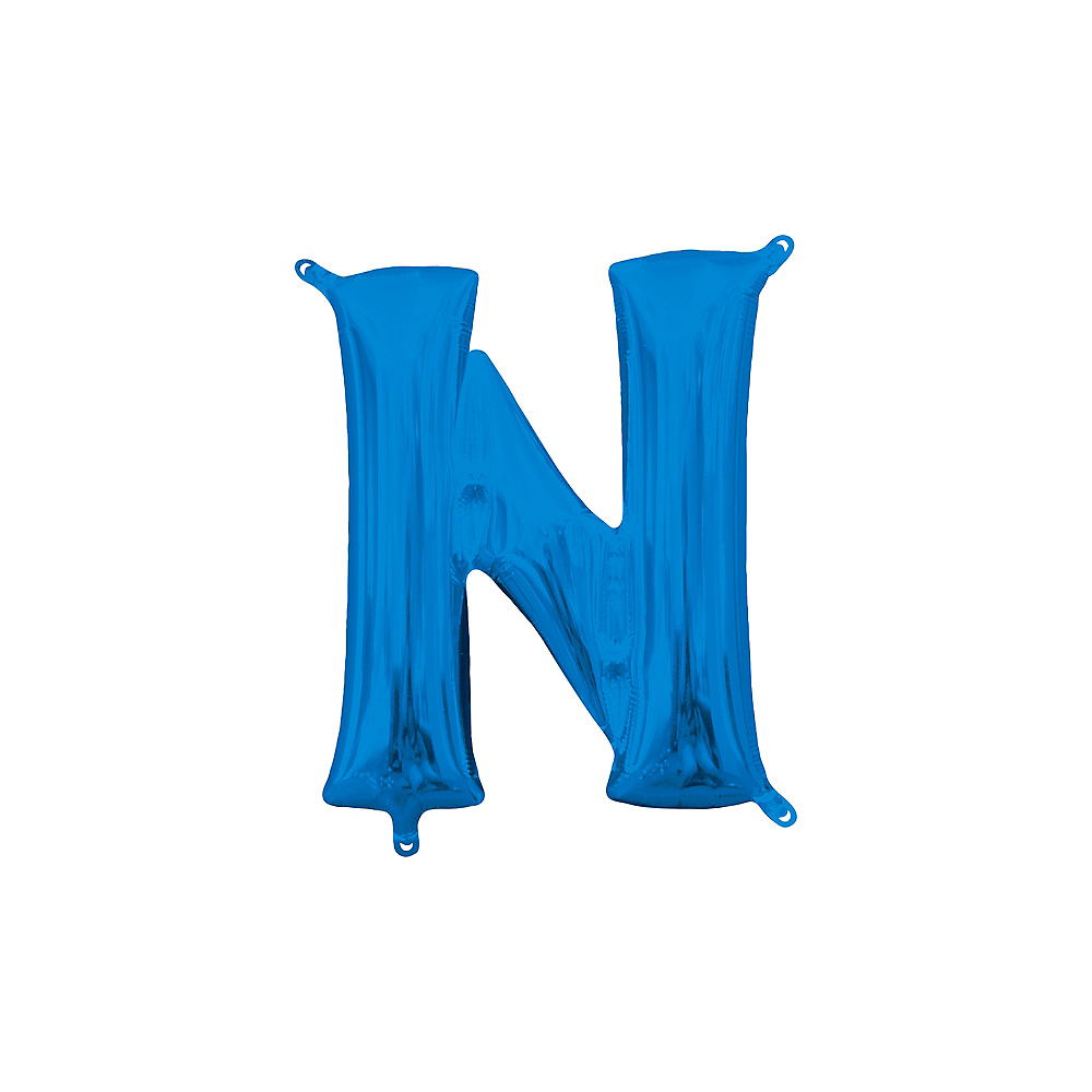 13in Air-Filled Blue Letter Balloon (N) Image #1