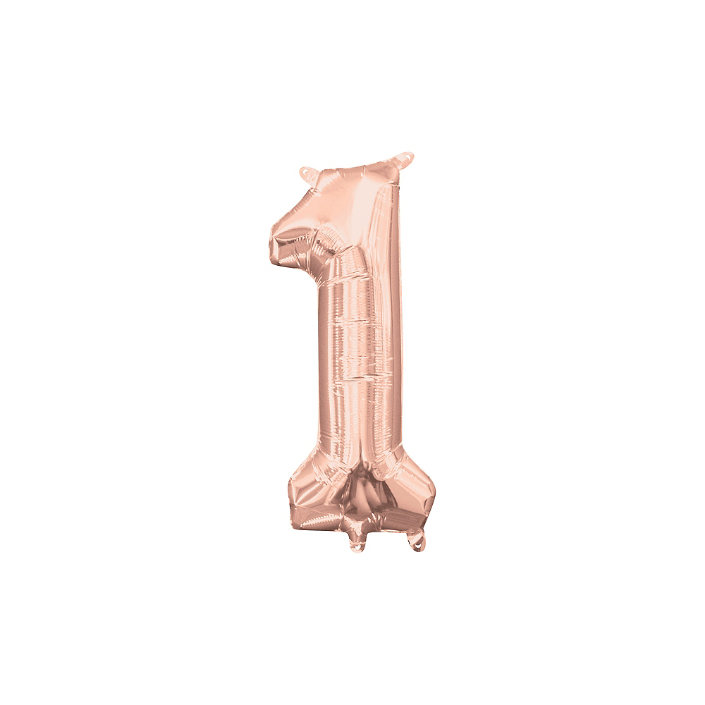13in Air-Filled Rose Gold Number Balloon (1) Image #1