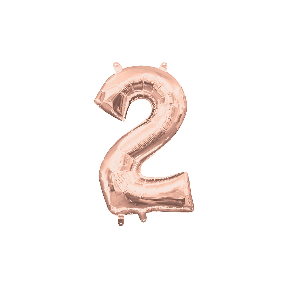13in Air-Filled Rose Gold Number Balloon (2) Image #1