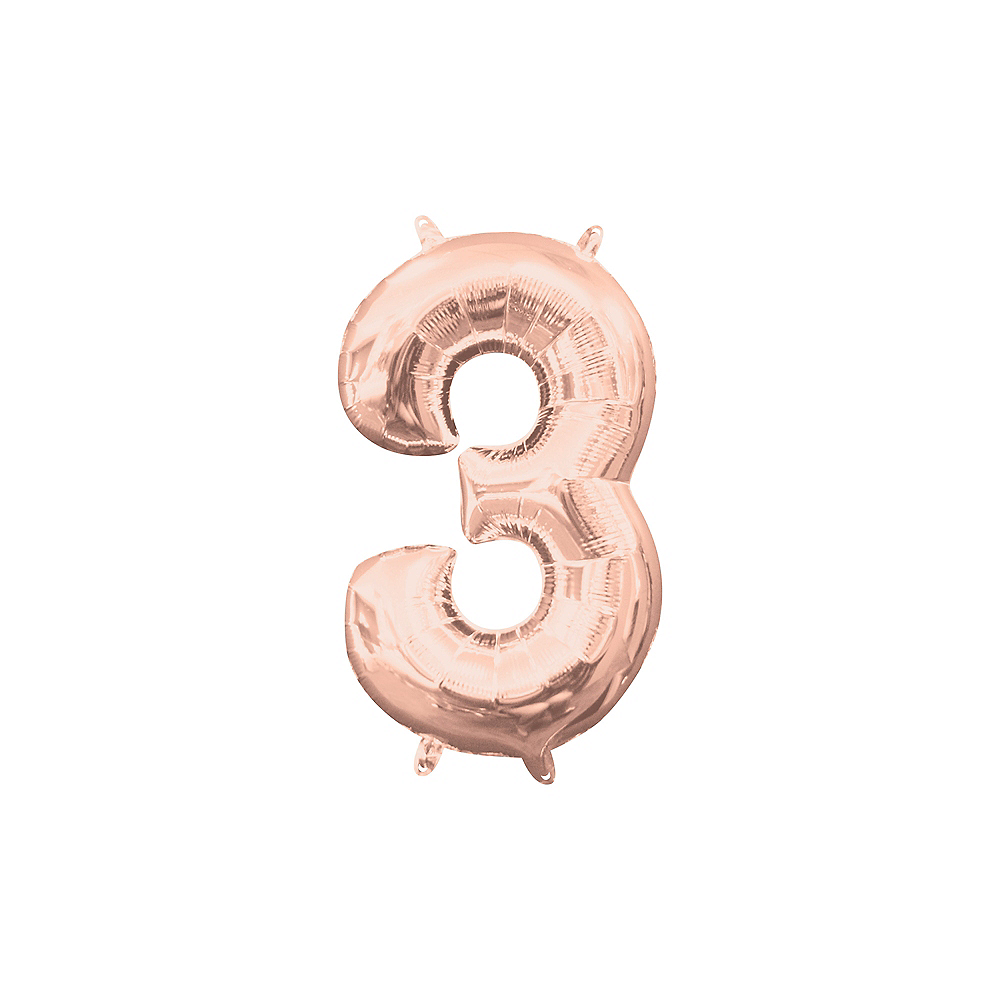 13in Air-Filled Rose Gold Number Balloon (3) Image #1