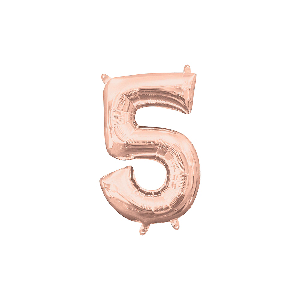 13in Air-Filled Rose Gold Number Balloon (5) Image #1