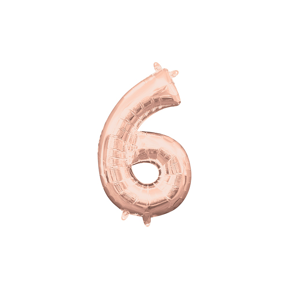 13in Air-Filled Rose Gold Number Balloon (6) Image #1