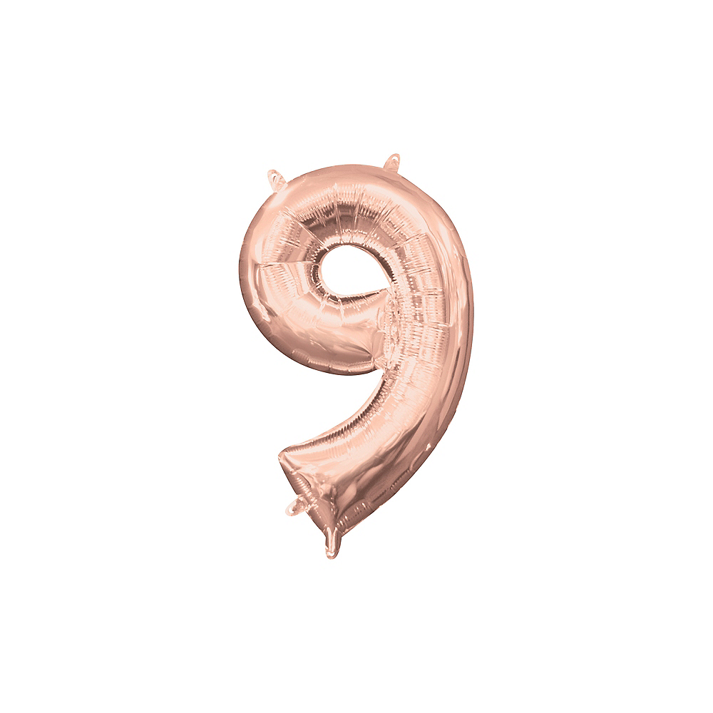 13in Air-Filled Rose Gold Number Balloon (9) Image #1