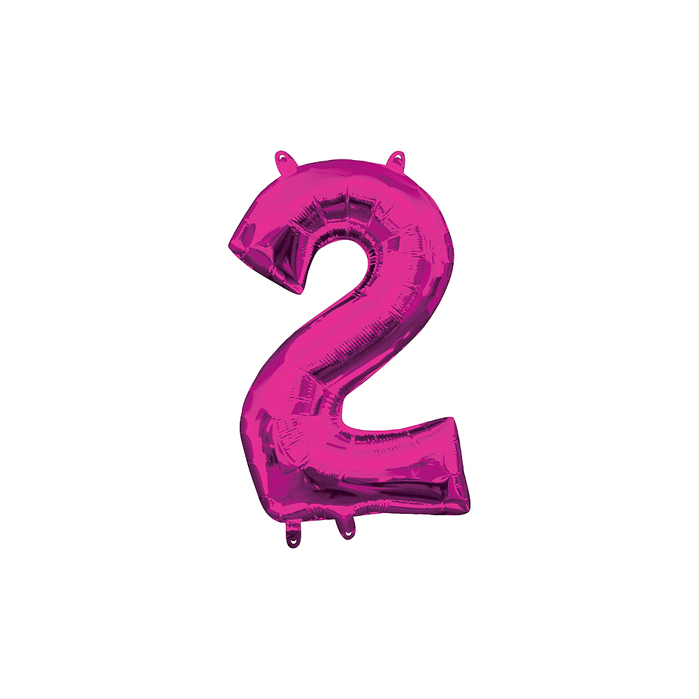 13in Air-Filled Bright Pink Number Balloon (2) Image #1