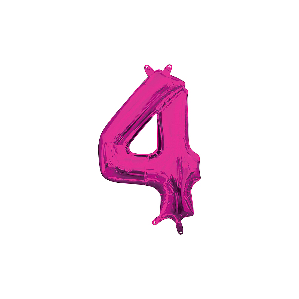 13in Air-Filled Bright Pink Number Balloon (4) Image #1