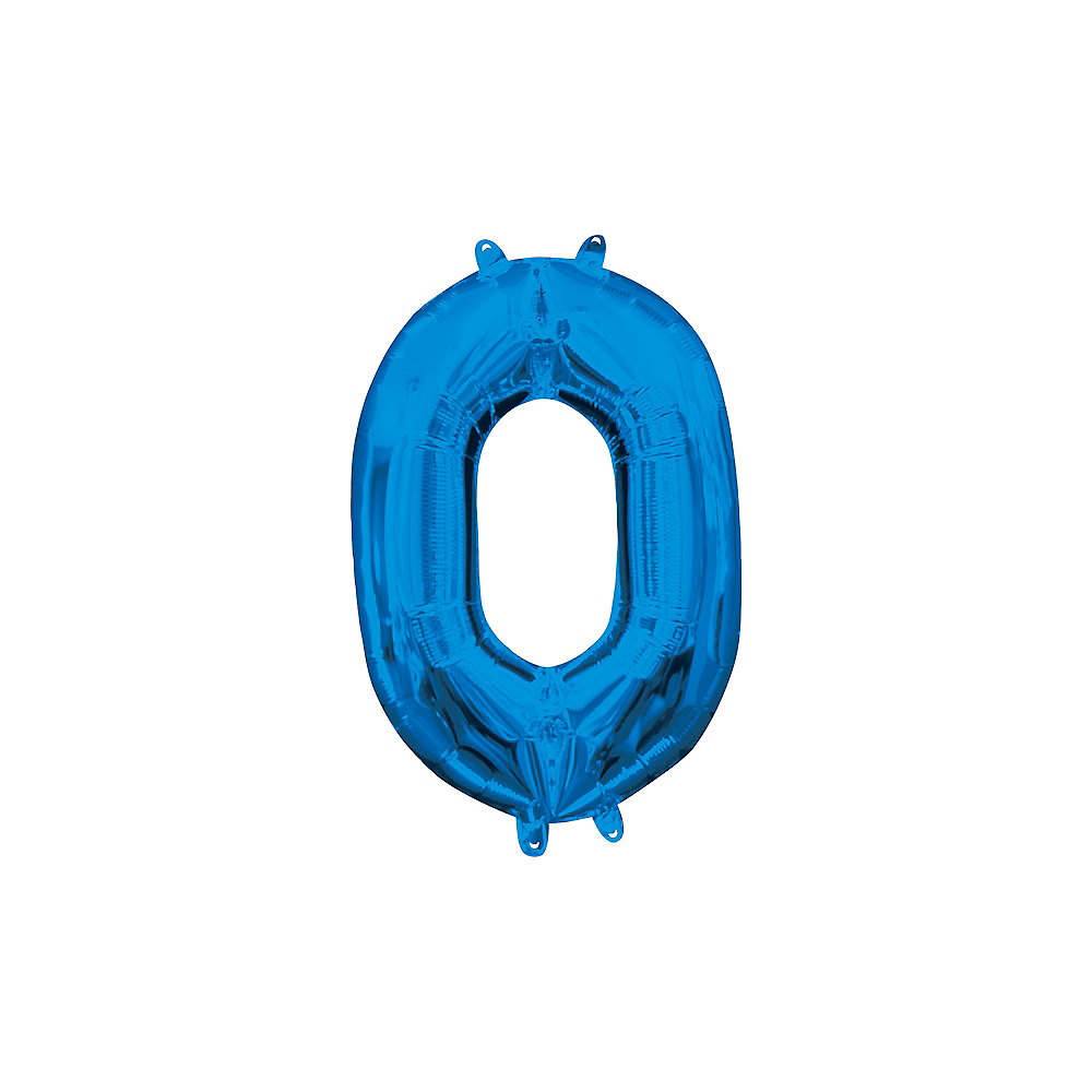 13in Air-Filled Blue Number Balloon (0) Image #1