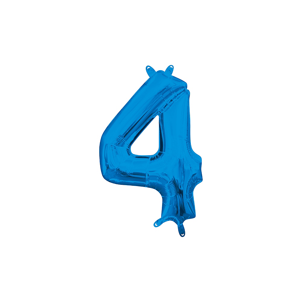 13in Air-Filled Blue Number Balloon (4) Image #1